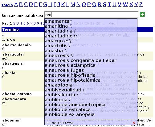Diccionario Medico - Sequencia de busqueda dinamica - am